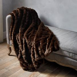 Luxury Faux Fur Throw in Channeled Mink