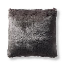 Fashion Faux Fur Matelassé Pillow Cover in Charcoal