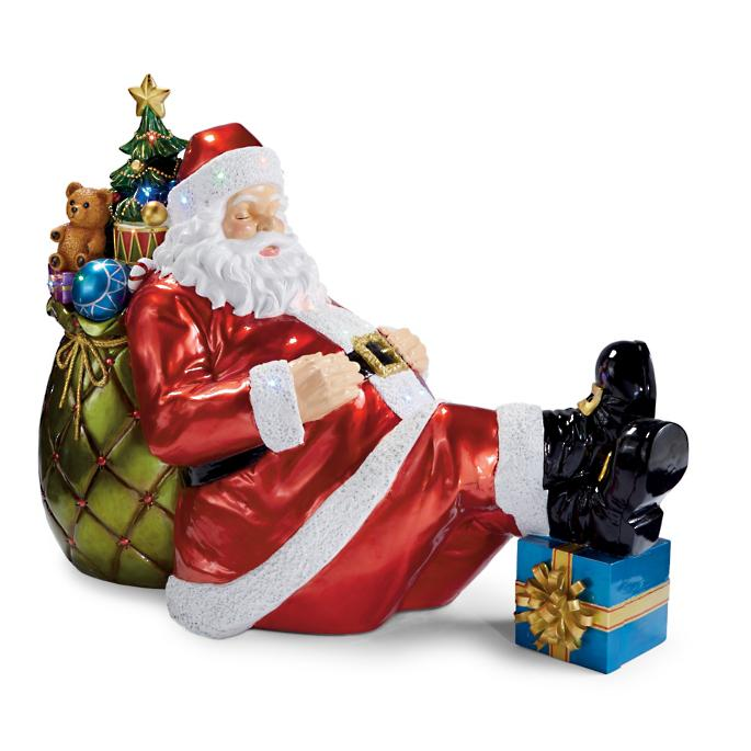 led-sleeping-santa-lawn-statue by frontgate