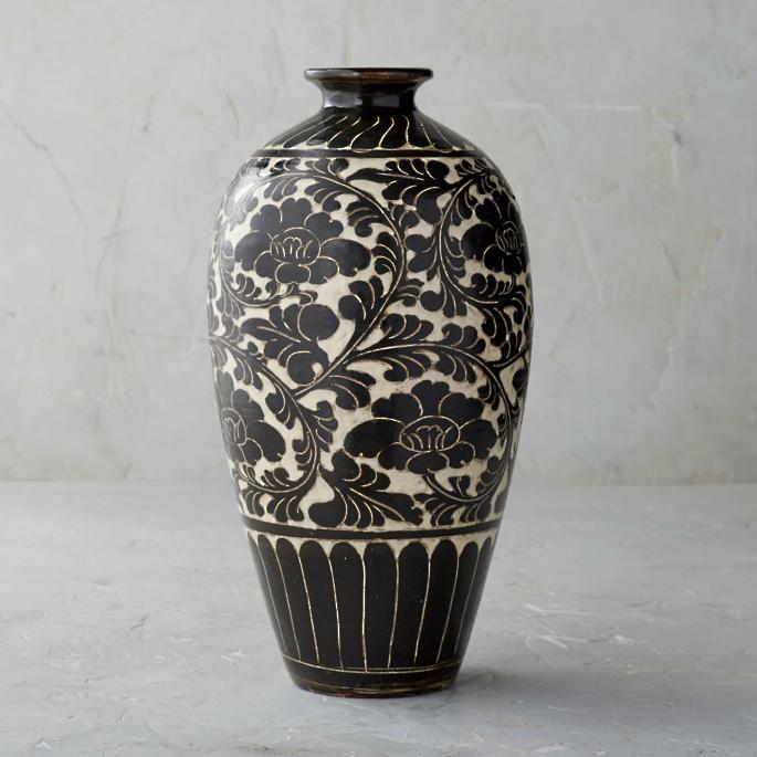 Song Noir Chinoiserie Shaped Vase by Frontgate