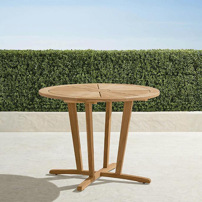 40 Round Teak Petite Dining Table, Round Teak Outdoor Table
