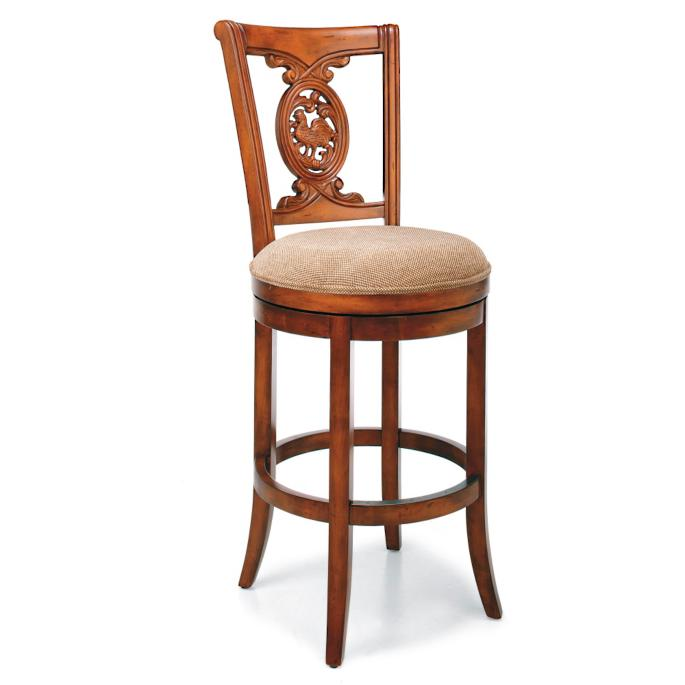 Astounding Carved Rooster Swivel Bar Height Bar Stool 30H Seat Caraccident5 Cool Chair Designs And Ideas Caraccident5Info