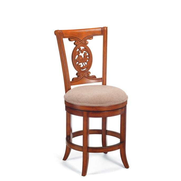 Brilliant Carved Rooster Swivel Counter Height Bar Stool 24H Seat Machost Co Dining Chair Design Ideas Machostcouk