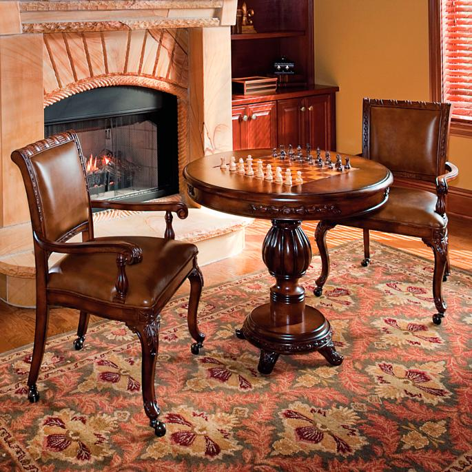 Windsor Game Table And Leather Chairs Frontgate