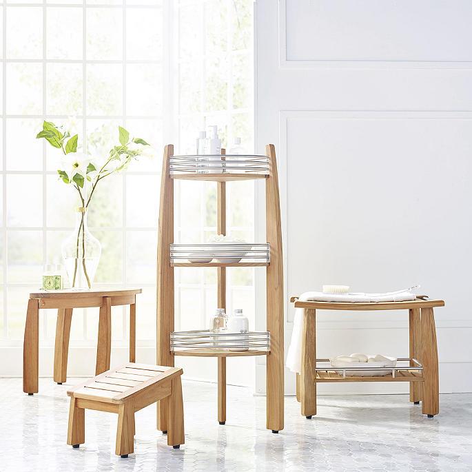 Resort Teak Shower Bench With Shelf Frontgate