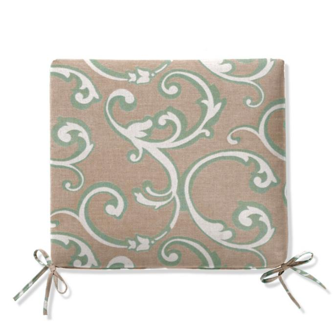 Knife Edge Chair Cushion In Sunbrella Hudson Flourish Mint Frontgate