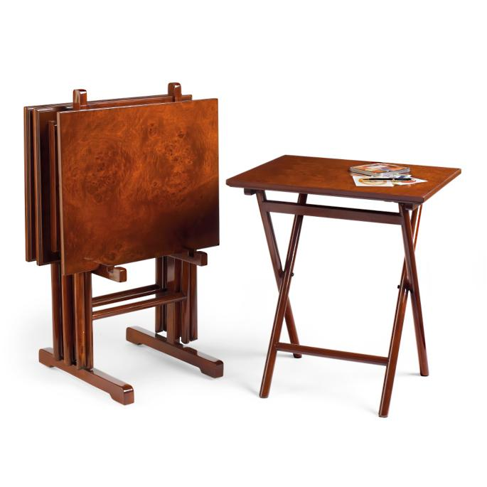 Set Of Four Burlwood Folding Tray Tables Frontgate