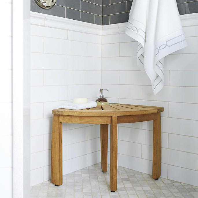 Resort Teak Corner Shower Seat With Basket Frontgate