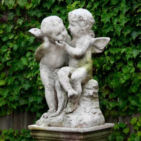 Two Cherubs Playing Garden Statue