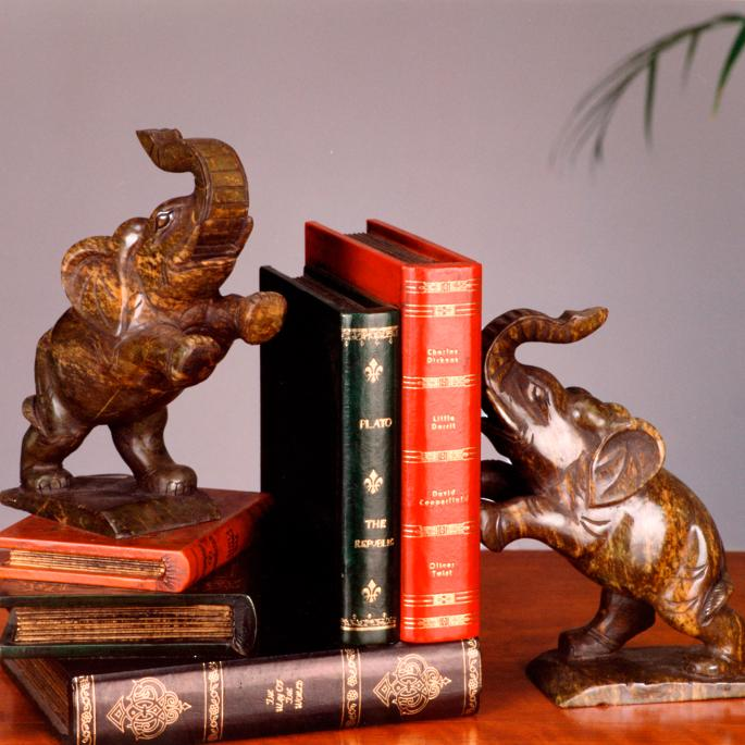 Set of Two Carved Elephant Bookends | Frontgate