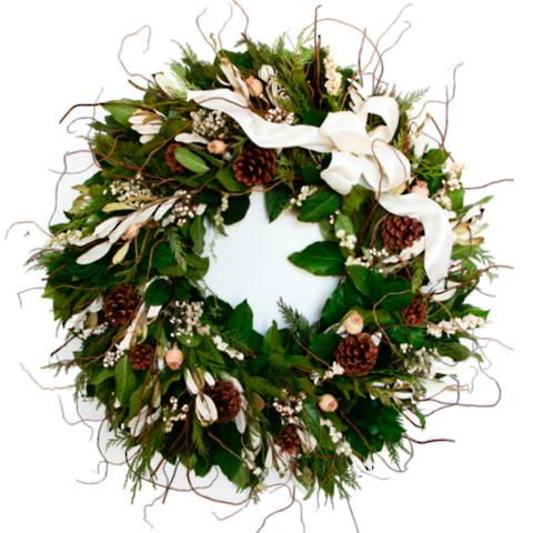 winter white fresh christmas wreath - Fresh Christmas Greenery