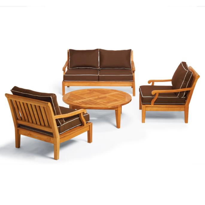 Magnificent Cassara 4 Pc Loveseat Set With Round Chat Table Frontgate Unemploymentrelief Wooden Chair Designs For Living Room Unemploymentrelieforg