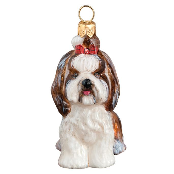 Shih Tzu With Top Knot Dog Ornament Frontgate