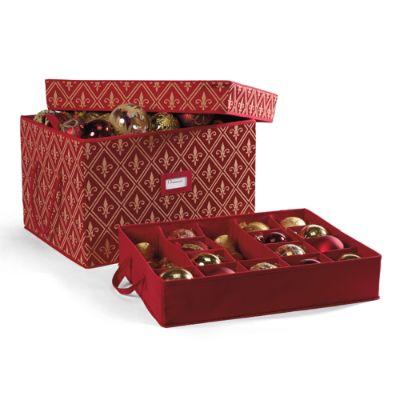 Red Fleur De Lis Ornament Storage Boxes Frontgate