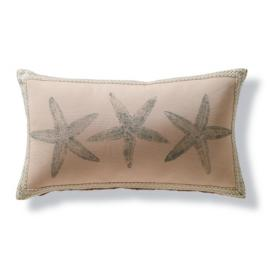 Block Print Starfish Outdoor Lumbar Pillow