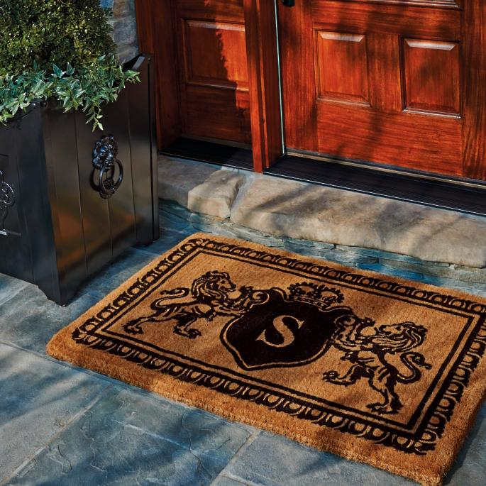 Lion Crest Monogram Door Mat Frontgate