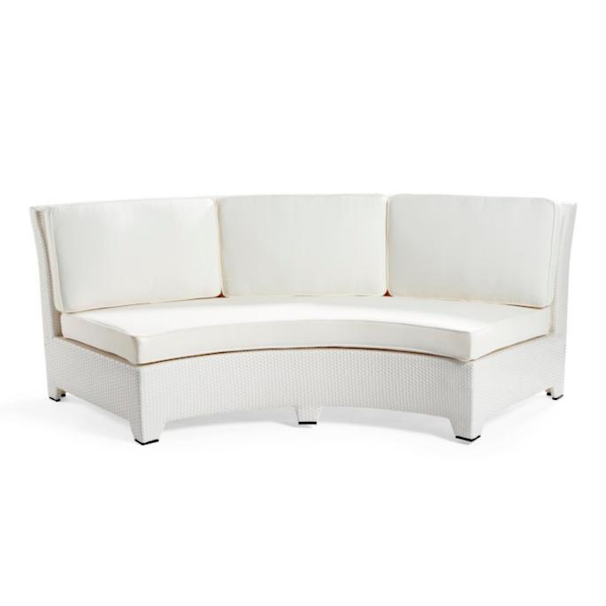 Brilliant Madrid White Armless Center Curved Sofa With Cushions Caraccident5 Cool Chair Designs And Ideas Caraccident5Info