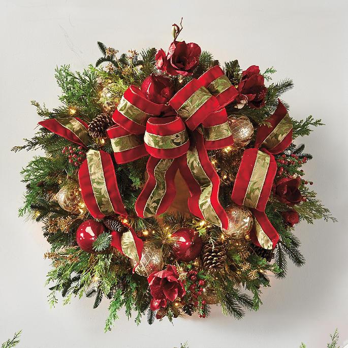 Christmas Joy Pre Lit Decorated Wreath Frontgate