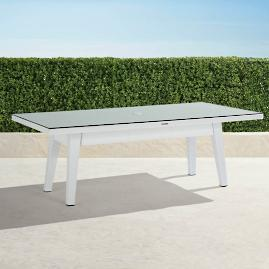 Palermo Glass-overlay Dining Table in White Finish