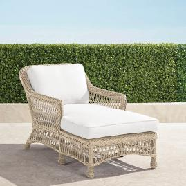 Hampton Chaise Lounge with Cushions in Ivory Finish
