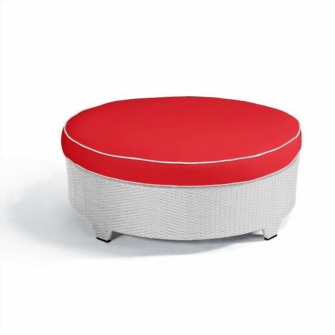 Fine Palermo Round Cocktail Ottoman With Cushion In White Finish Pabps2019 Chair Design Images Pabps2019Com