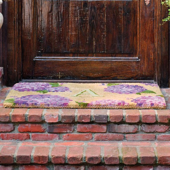 Hydrangea Monogrammed Coco Entry Mat Frontgate