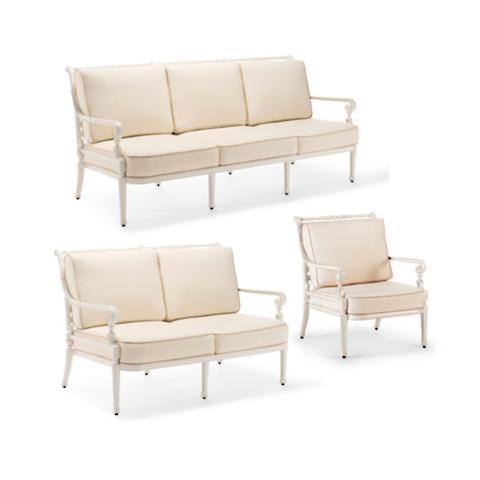 Carlisle 3 Pc. Sofa Set In Parisian Ivory Finish