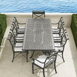 Carlisle 9-pc. Extending Dining Set in Slate Finish
