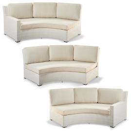 Palermo Left-facing Curved Sofa with Cushions in White