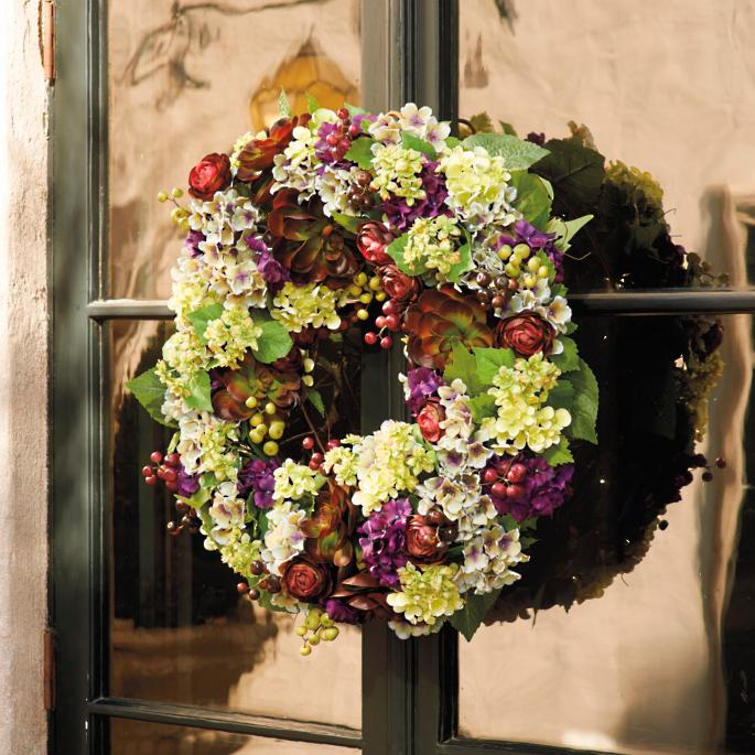 Mixed Hydrangea Amp Succulent Wreath Frontgate