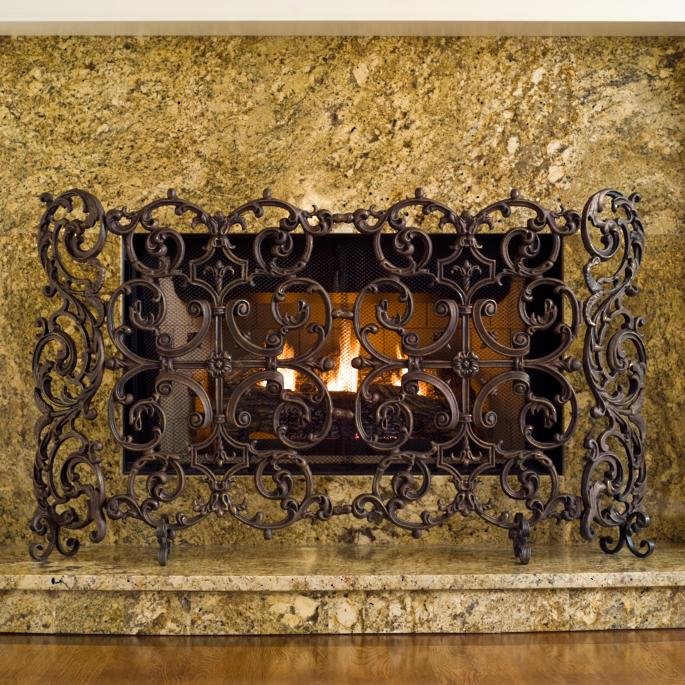 Classic Two Panel Cast Iron Fireplace Screen With Sides Frontgate