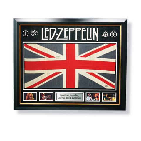 Led Zeppelin Autographed Union Jack Flag Four Autographs Frontgate