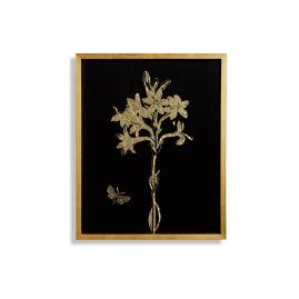 Tuberose Gilded Silkscreen Botanical Print on Black from