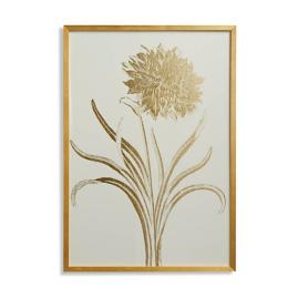 Garden Carnation Gilded Silkscreen Botanical Print on White