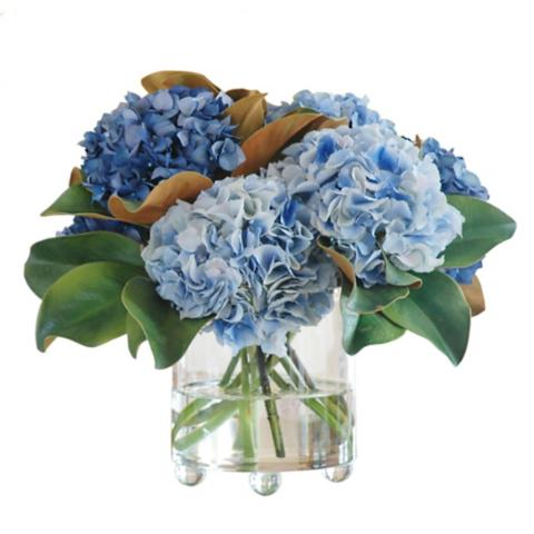 Blue Hydrangea In Footed Glass Vase Frontgate