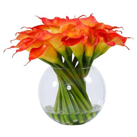 Calla Lily In Round Glass Vase Frontgate