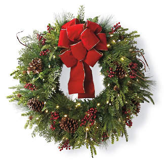 christmas cheer wreath with red bow - Pre Lit Outdoor Christmas Wreaths