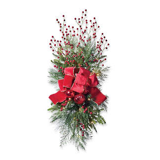 christmas cheer cordless staircasedoor swag with bow set of two