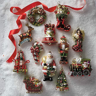 christmas tidings icon ornaments set of 12 - Christmas Decoration Sets