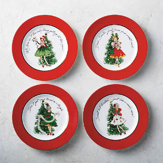 Holiday Belles Assorted Appetizer Plates, Set of Four