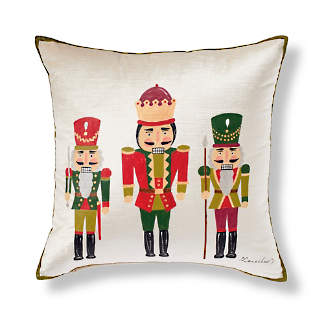 handpainted nutcracker decorative pillow