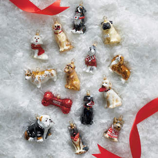 joy to the world collectible dog ornaments