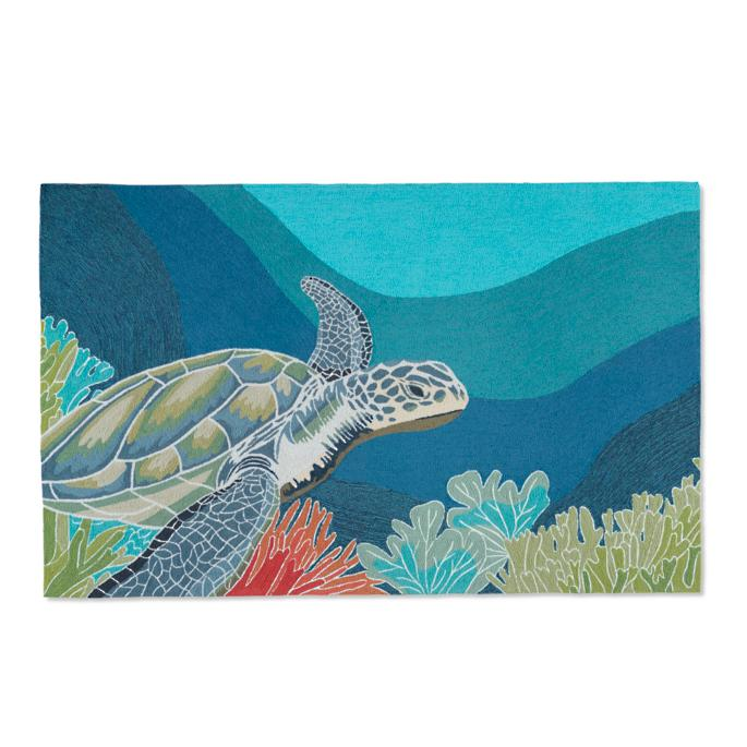 Swimming Sea Turtle 5 X 8 Outdoor Area Rug Frontgate