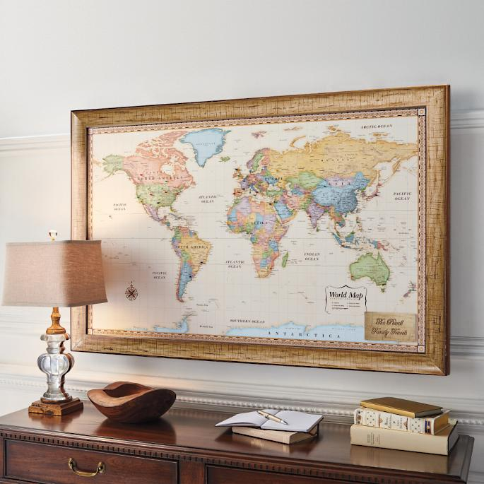 World Magnetic Travel Map With Antique White Frame Frontgate - Large framed magnetic world map