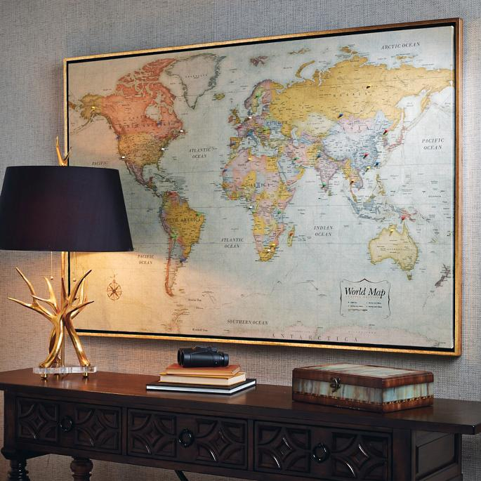 Heirloom antiqued linen map frontgate set of 50 additional magnets gumiabroncs Gallery