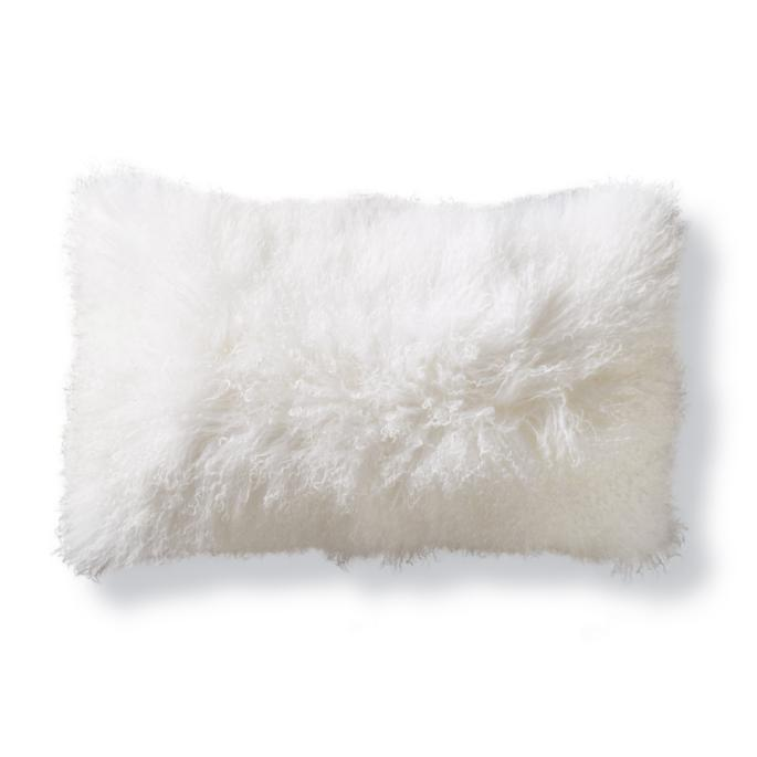Mongolian Fur Decorative Lumbar Pillow In White