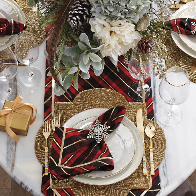 Donatella Holiday Plaid Table Linen Collection Frontgate