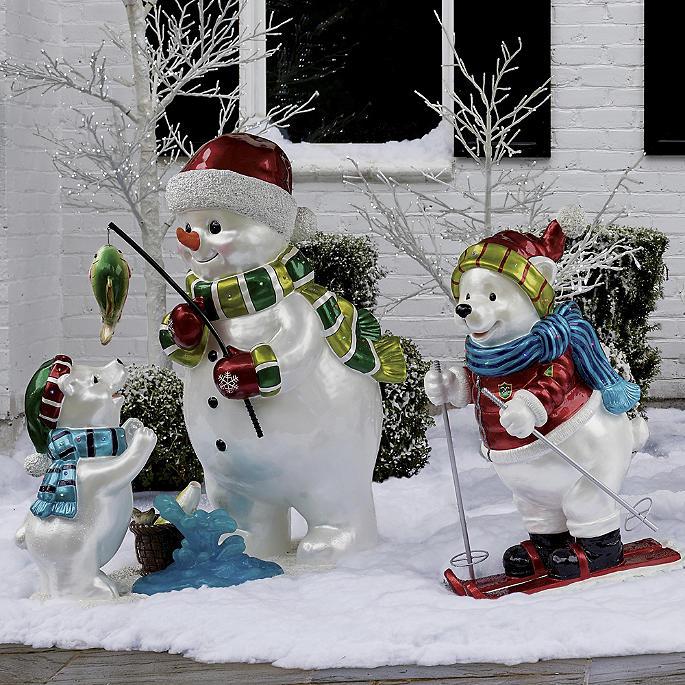 LED Polar Bear Skating with Ornaments