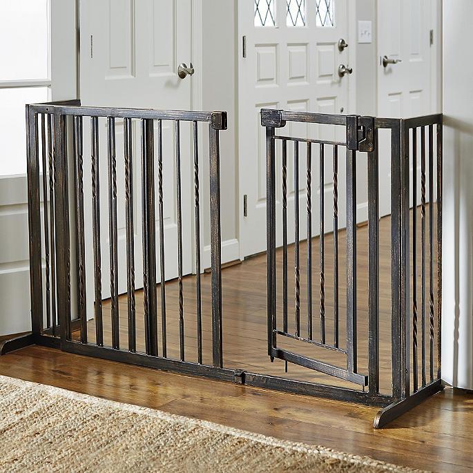 Freestanding Stair Pet Barrier Tall Dog, Outdoor Pet Gate With Door