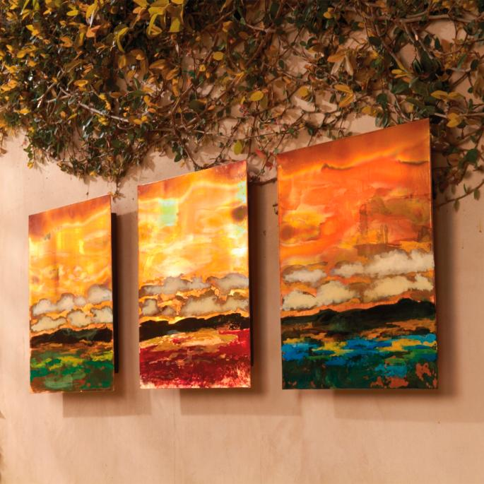 Copper Landscapes Outdoor Wall Art in Red | Frontgate